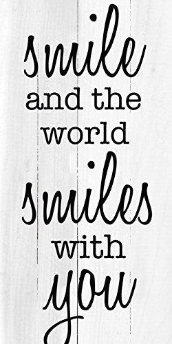 Artland Wand-Bild geweißtes Holz-Bild digital bedruckt mit Motiv Jule Lächeln Statement Bilder Sprüche & Texte Graphische Kunst Schwarz 100 x 50 x 4,2 cm B3JX