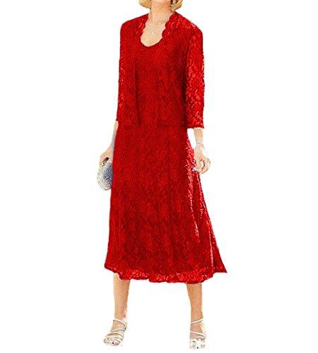 O.D.W Damen Spitze Formales Brautkleider Brautmutter Kleider mit Jacke Vintage Brautkleider(Rot, 32)