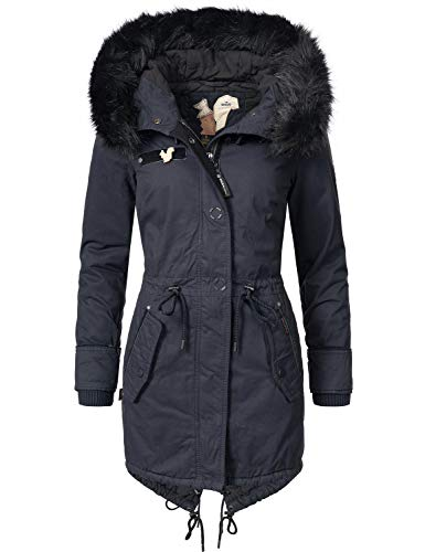 khujo Damen Mantel Wintermantel Baumwollparka YM-Dorota (vegan Hergestellt) Blue018 Gr. XL