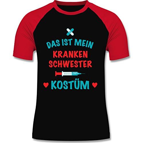 Shirtracer Karneval & Fasching - Das ist Mein Krankenschwester Kostüm - Herren Baseball Shirt Schwarz/Rot