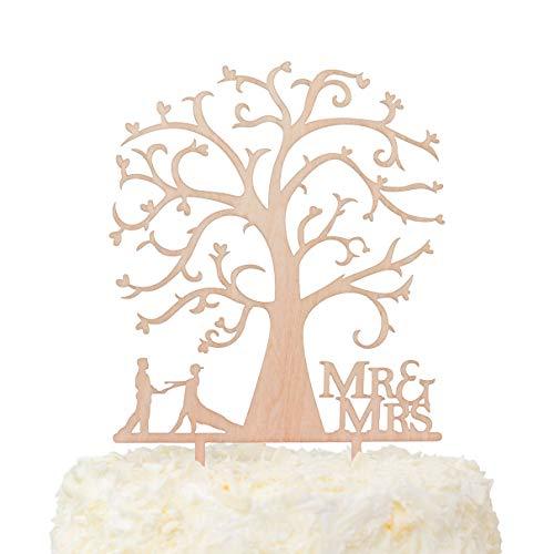 x Pack Herr und Frau Dancing Braut und Bräutigam Baum Silhouette Rustikal Hochzeit Kuchen Topper Holz (12,7cm) ()