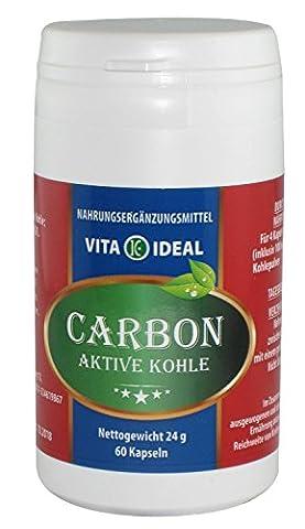 Medizinische Aktive Kohle 60 Kapseln (Aktivkohle) je 250mg rein natürliches Pulver, ohne