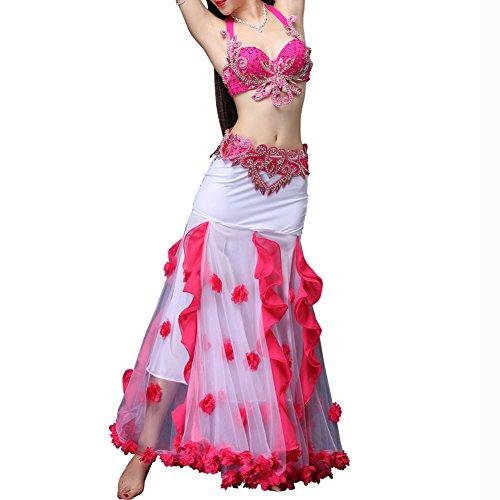 Q-JIU Bauchtanz Kleidung Damen Baumwolle Polyester Damast Kristall/Strass Blume Faltenrock Anzug,Pink,S