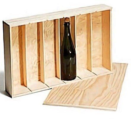 Caja madera para 6 botellas de vino o cava de madera sin tratar, tapa deslizante Medidas utiles interiores 33,1 cm alto x 56 cm ancho x 9 cm fondo