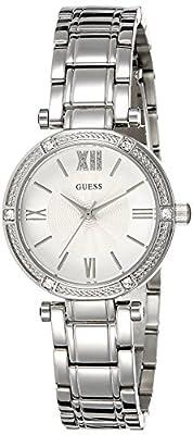 Guess W0767L1 - Reloj de lujo para mujer, color blanco / plateado
