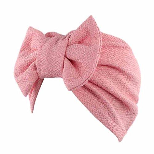 Cap Transer® Damen Mode Schön Hüte Make-up Baumwolle+Nylon Turban Hut Wrap Wassermelone Rot Gelb Rosa Pink Lila Khaki Beige Hijib Einfarbig Mützen mit Groß Bowknot (Rosa) (Cap Fleece-leichtes)