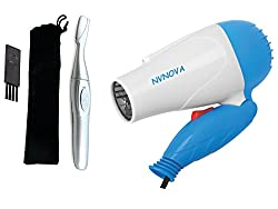 NVNOVA Hair dryer 1000wt 1290/658 Multicolour And Eyebrow and hair trimmer for womens