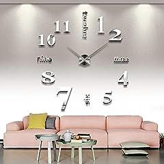 Idea Regalo - Asvert Orologio da Parete 3D Adesivi Murali per Casa Ufficio Hotel Ristorante Fai da Te Argento (Batteria Non Inclusa)