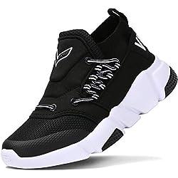 Chaussures de Running garçon Course Outdoor Sneakers Mode Basket Mixte Enfant(E-Noir, 31 EU)