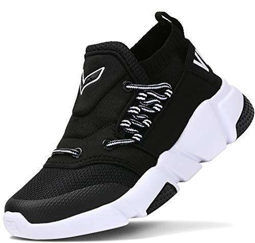 Scarpe Sportive Bambini e Ragazzi Scarpe da Corsa Ginnastica Respirabile Mesh Running Sneakers Fitness Casual(F-Nero,39 EU)