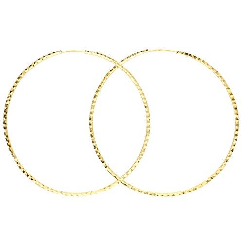 MyGold Damen Creolen Ohrringe Gelbgold 585 Gold (14 Karat) Ohne Steine Ø 60mm Diamantiert Goldohrringe Goldcreolen Damenohrringe Ohrschmuck Weihnachtsgeschenk Geschenk Frauen Velutina C-05695-G406