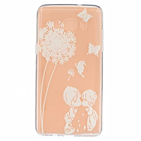 MUTOUREN Samsung Galaxy J5 (2016) SM-J510F case cover Soft TPU Case ultra-thin feel good, 3D transparent mobile phone shell Protective Front and Back Full Body Shock-Absorption anti-scratch case-simple white pattern boy and girl kiss Feather Butterflies