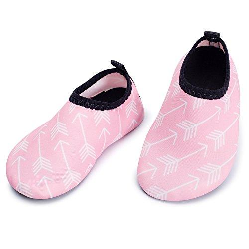 JIASUQI Atmungsaktive Anti-Rutsch-Quick-Dry Baby Wassersport Schuhe für Schwimmen Beach Pool Surf Yoga, Rosa Pfeil 6-12 Monate (Herstellergröße : 17/18)