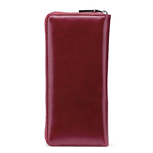 Donne Portafoglio e borsa in pelle Lunga frizione borsetta Titolare della carta (Rosso) Rosso