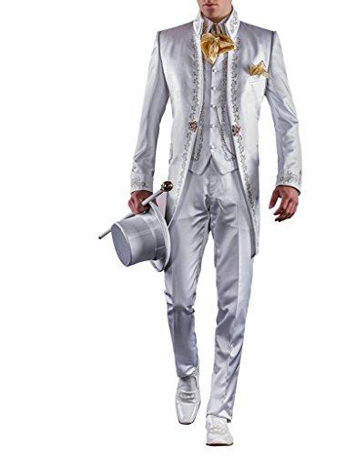 Suit Me Hommes 3 Piece Suit stand robe de soir¨¦e col de mariage avec veste de costume de broderie, gilet, pantalon Blanc