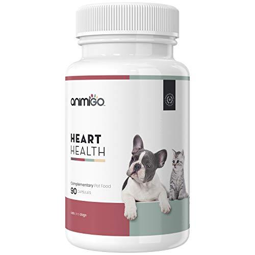 Animigo Heart Health | Unterstützung von Herz und Kreislauf | Ideal für ältere Hunde & Katzen | Herztabletten mit L-Carnitin, Taurin & Vitamin E | Natürliche Nahrungsergänzung | 90 Kapseln