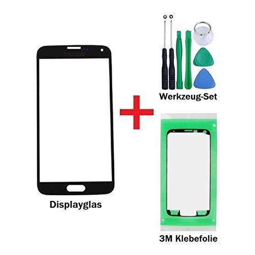 iTG® PREMIUM Displayglas Reparatur-Set für Samsung Galaxy S5 Mini Schwarz - Oleophobic Front Display Glas für Modell SM-G800F LTE + Vorgeschnittene 3M Klebefolie und 7-Stück Werkzeug-Set
