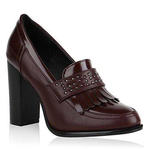 Damen Hochfrontpumps Fransen Pumps Leder-Optik High Heels Schuhe 157817 Dunkelrot 38 Flandell