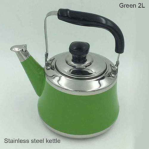 Geng Kessel, Edelstahl Außenpfeifewasserkocher, Gasinduktionsherd Wasserkaraffe 2L (Color : Green)