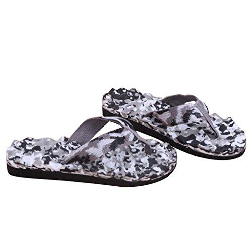 Sandalen Pantoffel Flip Flops Unisex, Sunday Damen Men Herren Zehentrenner Männer Sommer Camouflage Flip Flops Schuhe Sandalen Slipper Indoor & Outdoor (45, Grau)