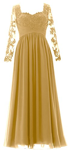 MACloth Vintage Long Sleeves Mother of Bride Dress Maxi Evening Formal Gown gold