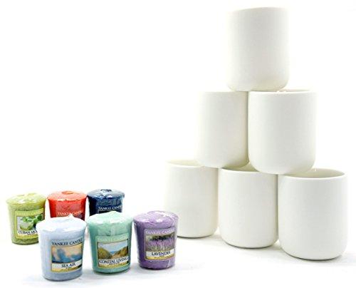 6x Offizielle Yankee Candle Weiß glasierter Keramik Große Harmony Votiv Kerzenhalter + 6Verschiedene Votivkerzen