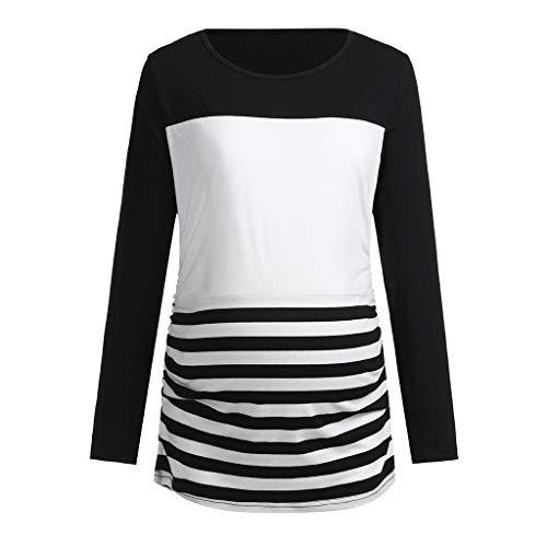 erschaft Tunika Tops schmeichelnde Seite Rüschen Langarm Scoop Neck Schwangerschaft Halloween Kostüm T-Shirt (M, Schwarz) ()