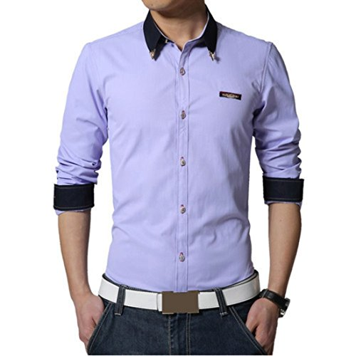 Men's High Quality Camisas Masculinas long Sleeveed Casual Shirts purple