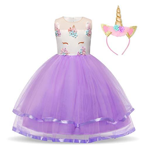 NNJXD Mädchen Einhorn-Partei-Kostüm Blume Cosplay Hochzeit Halloween-Abendkleid Prinzessin + Kopfbedeckung Größe (130) 5-6 Jahre Lila (Mädchen Kleider Kleine Für Hochzeiten)