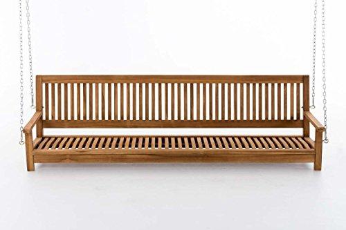 CLP Teakholz Schaukel Sitz-Bank, massiv und wetterfest, Gartenbank zum Aufhängen mit Ketten Modell Havana, 220 cm - 2