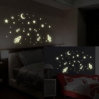 Possbay Wandsticker Kinderzimmer Sterne Mond Rakete im Dunkeln leuchtend Weihnachten Geschenk