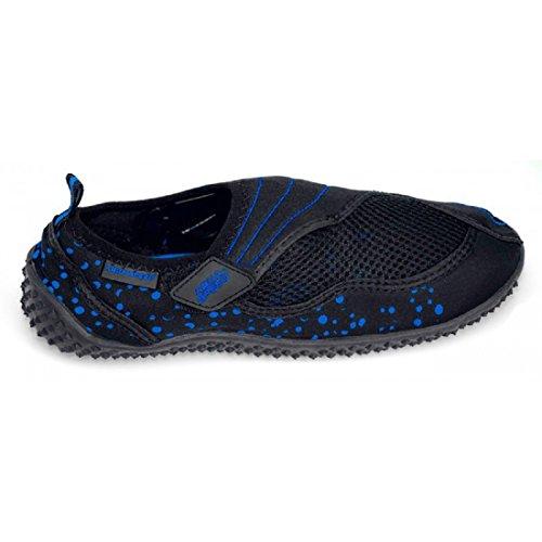 AQUA-SPEED® BEACH BOY Chaussures d'Aqua (Homme Natation Plongée Kayak Piscine) Noir / Bleu - 15.1
