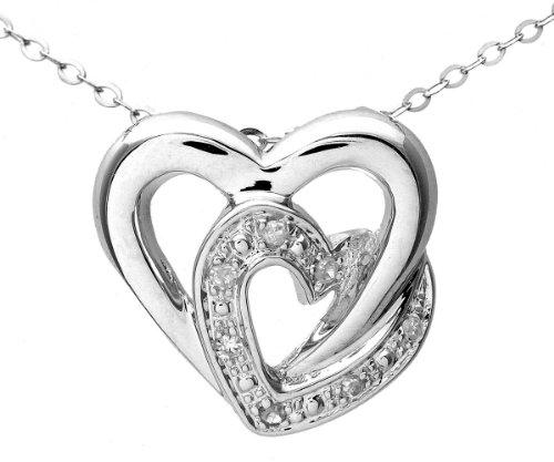 Naava - Collar de mujer de oro blanco (9k) con 7 diamantes,...