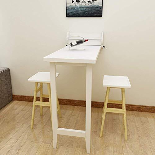 Taotao Mesa de Pared, Mesa de Comedor Plegable de Madera Maciza Mesa Convertible de Bar para Espacios pequeños (Color : Blanco)