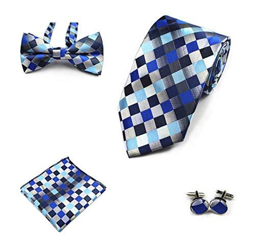 LINJIFE 4 Stücke Krawatte Set Männer Fliege Und Taschentuch Bowtie Manschettenknöpfe 8 Cm Krawatte 100% Seidenkrawatten 37