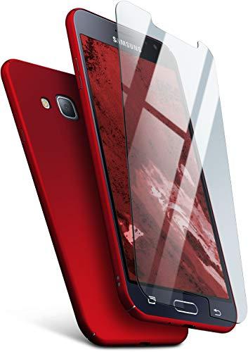 moex 360 Grad R&um-Schutz [Case + Panzerglas] für Samsung Galaxy J3 (2016) | Extrem dünne Handyhülle in Dunkel-Rot inkl. kristallklare Schutzfolie aus Hartglas