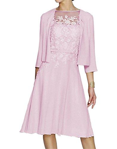 HWAN Damen A Line Applikationen Kurz Mutter der Braut Kleid mit Jacke Bolero Rosa (Kurz Sse)