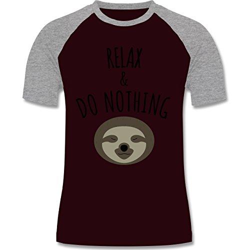 Statement Shirts - Relax & Do Nothing - Faultier - zweifarbiges Baseballshirt für Männer Burgundrot/Grau meliert