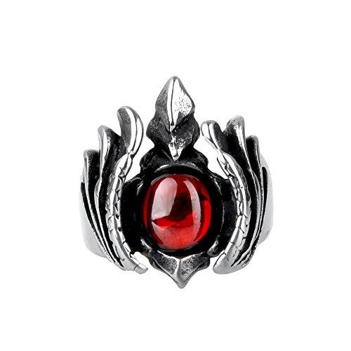 CARTER PAUL Herren Edelstahl Armee Black Diamond Weizen Ohr Muster 18K Vergoldung Ring, Silber Rot, Größe 62 (19.7) (Diamond Gold Black Rot Ring)