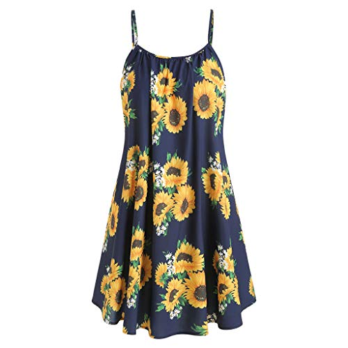 (B-commerce Mode Frauen Slash Neck Sleeveless Drapierte Sunflower Print Strap Short Mini Kleid Lässig Strand Sommer Weste Kleider)
