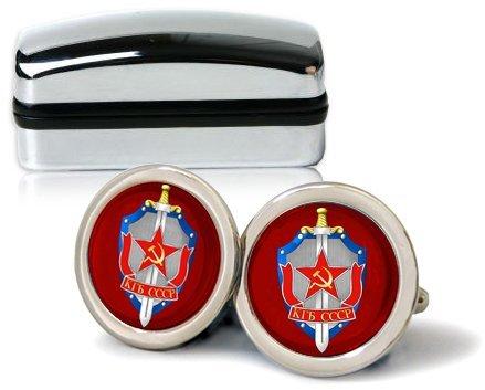 Family Crests KGB Hommes Boutons avec Boîte Cadeau Chrome