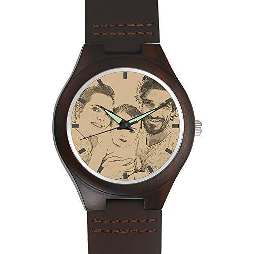 SOUFEEL Herren Holzuhr Personalisierte Armbanduhr mit Foto und Gravur Analog Japanisches Quarzwerk mit Lederarmband African Blackwood Durchmesser 45mm (African Fotos)