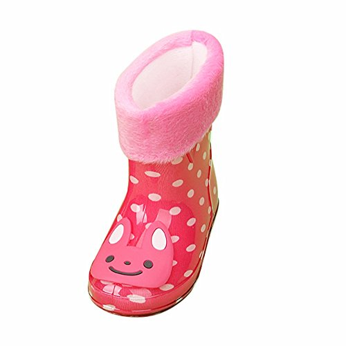 Girls Antiskid Wellies with Cotton Velvet Design Kid Cartoon Rainboots Boys Autumn Winter Warm Rain Boots
