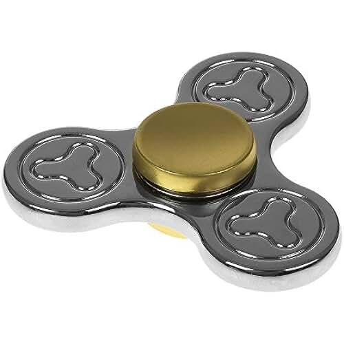 fidget spinner el nuevo juguete de moda DAM Destresspinner Tri Fidget Spinner Aleación de Zinc para adultos o niños- Giro alta velocidad 32.000 rpm- Larga Duración aprox 4 min- Juego sensorial (SILVER)