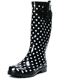 Ownshoe Women Rubber Polka Dots Mid Calf Wellies Color Dots Rainboots Black Polka Dot 10 B(M) US