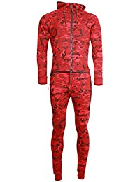 Ensemble Survêtement Jogging Tech Cabaneli Camo Rouge