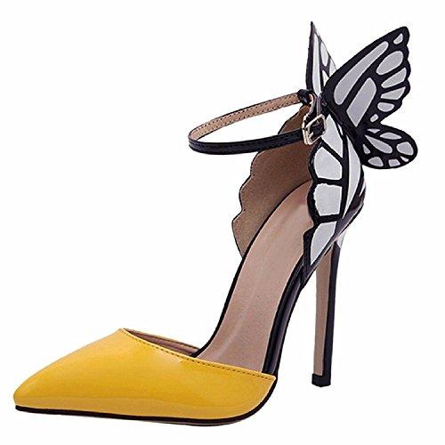 Minetom Mujer Elegante Estiletes Verano Sandalias Moda Tacón Alto Zapatos Con Mariposa Amarillo 38