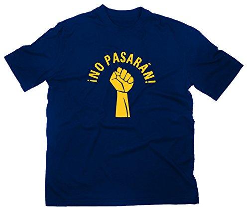No Pasaran Fist T-Shirt Logo T-Shirt Spanien La Pasionaria Gegen Nazis Anitfa Punk, XL, navy