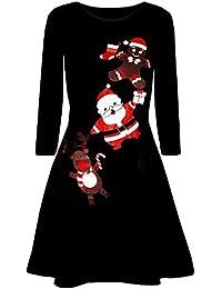 WWricotta Women Christmas Printed Long Sleeve Evening Prom Costume Swing Dress