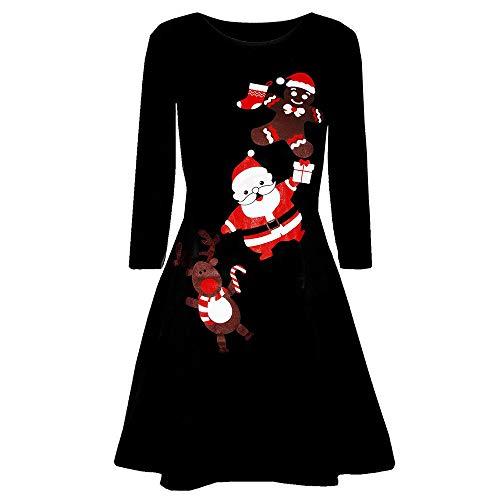 skleider, Printed Langarm Weihnachtsmann drucken O-Neck Slim Fitted Abend Prom Kostüm Swing Kleid Party Club Festival Kleid(R-Schwarz,Medium) ()